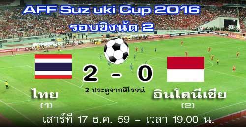 ดูฟุตบอลสด ไทย - อินโดนีเซีย 17 ธ.ค. 59 AFF Suzuki Cup 2016